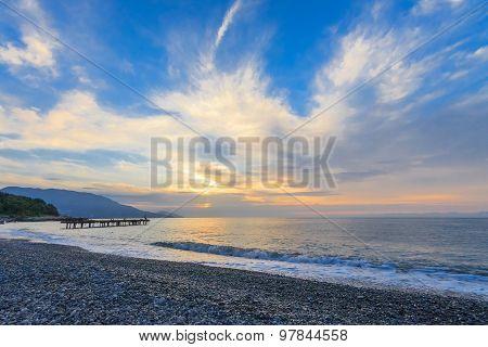 Beautiful Sunrise Over The Sea. Crimea. Yalta.