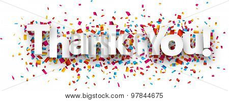 White thank you sign over confetti background. Vector holiday illustration.