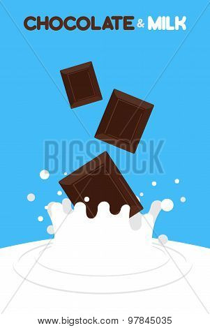 Pieces Of Chocolate Fall In Milk. Splash Of Milk On A Blue Background. Vector Illustration.