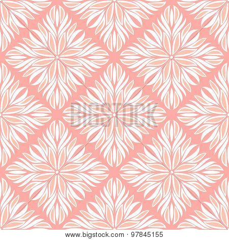 Gentle Seamless Pattern With White Tracery On A Pink Background