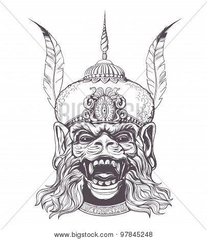 Hanuman Grunge print. Vintage style.