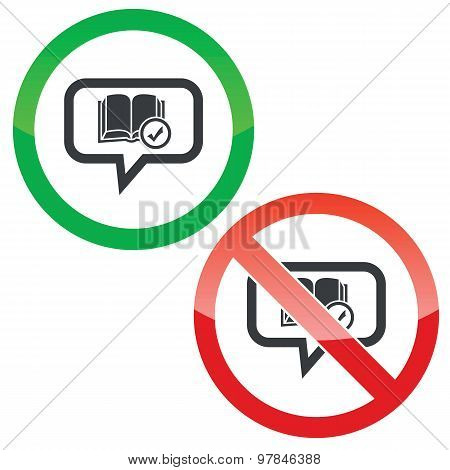 Select book message permission signs