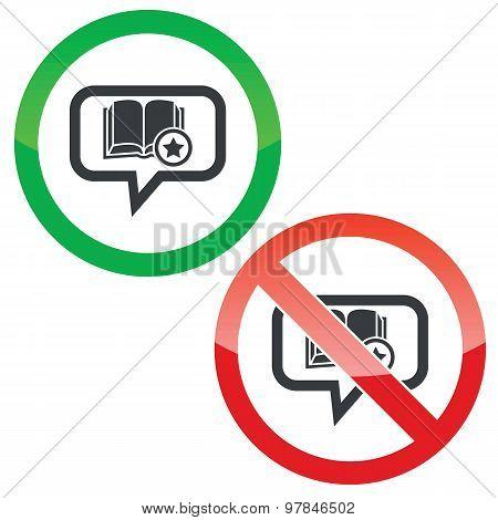 Favorite book message permission signs