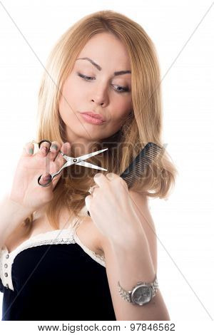 Young Woman Doing Herself Haircut