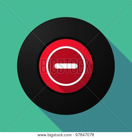 Vinyl Record With A Subtraction Sign
