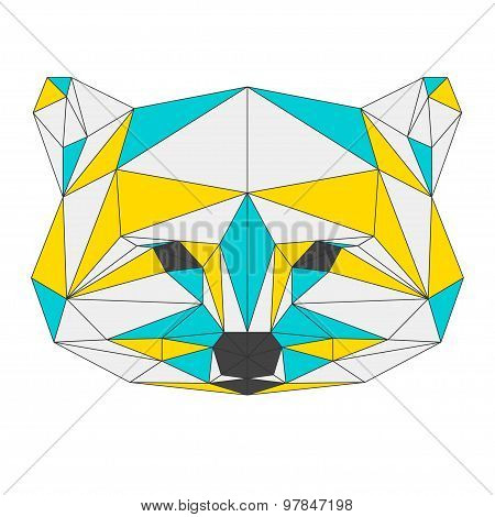 Abstract Raccoon Isolated On White Background. Polygonal Triangle Geometric Illustration