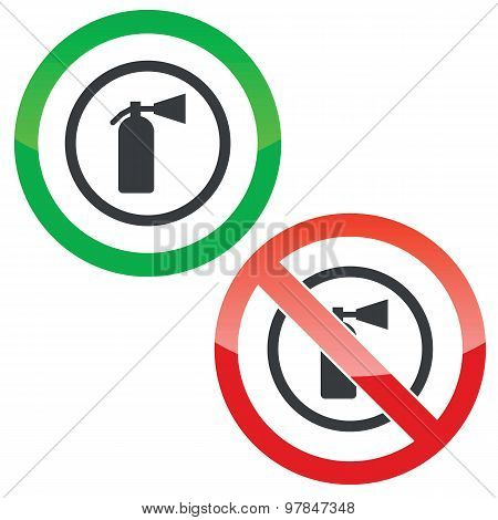 Fire extinguisher permission signs