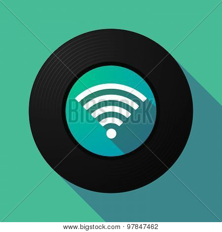 Vinyl Record With A Radio Signal Sign