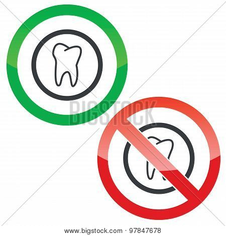 Tooth permission signs