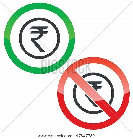 Rupee permission signs