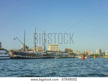 Cartagena Port And Old Style Ships