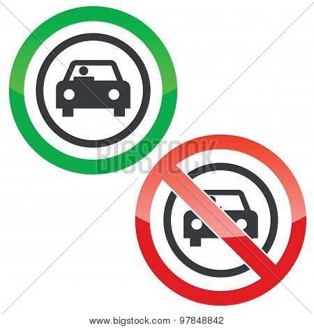 Car permission signs