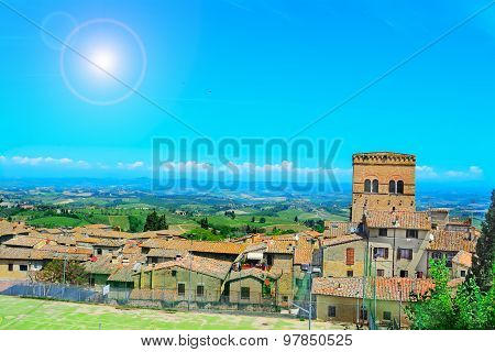 Landscape Of San Gimignano Under A Shining Sun In Tuscany