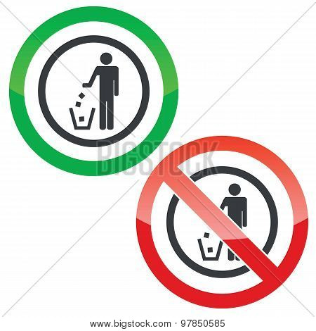 Recycling permission signs
