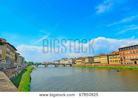 Arno River On A Clear Day In Florence