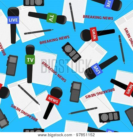 Breaking News Theme Bright Seamless Pattern Background With Microphone, Dictaphone