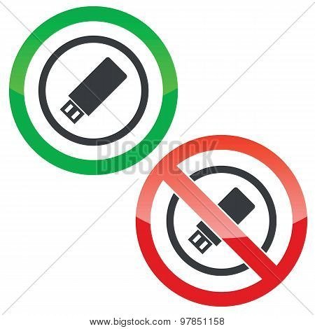 USB stick permission signs