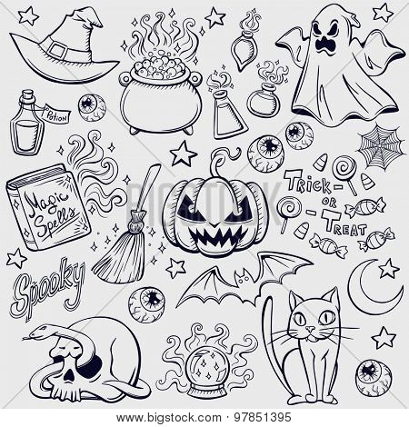 Halloween characters and attributes doodle set. Vector illustration.
