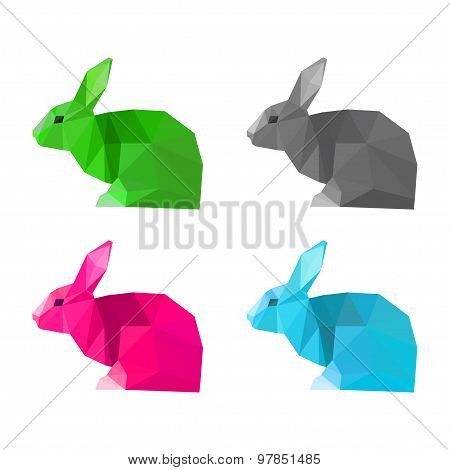 Rabbits Set Isolated On White . Abstract Bright  Polygonal Geometric Illustration