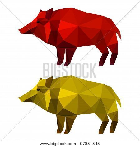 Wild Boar Set Isolated On White. Abstract Polygonal Geometric Illustration