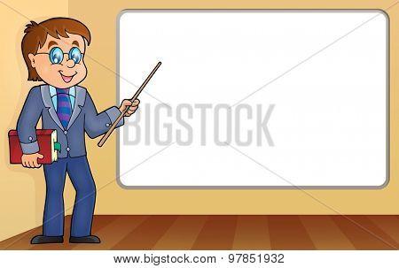Man teacher standing by whiteboard - eps10 vector illustration.