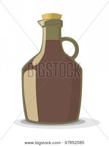 Vector illustration of red wine bottle with cork, isolated on white background
