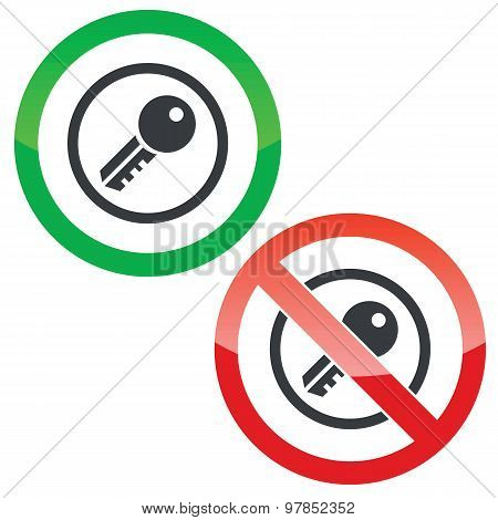 Key permission signs