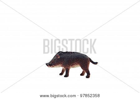 Isolated wild boar toy