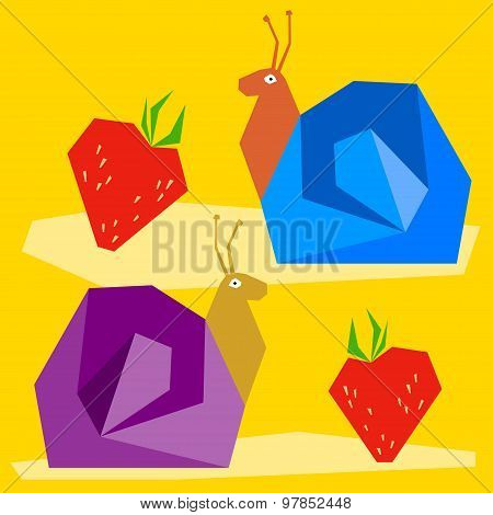 Funny Snail And Strawberry. Cartoon Graphic Abstract Illustration For Design