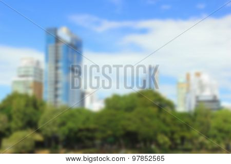 Blurred Image Of The Park In The City During Daytime