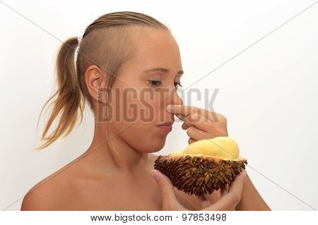 Woman Smelling Durian