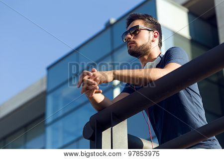 Modern Young Man In The Street.