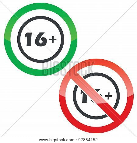 16 plus permission signs