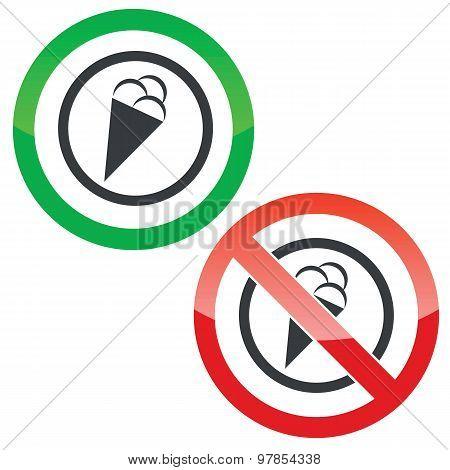Ice cream permission signs