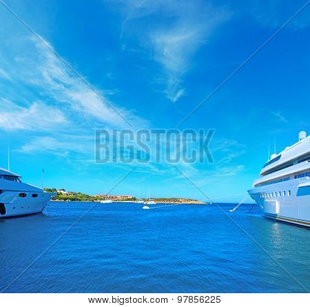 Huge Yachts In Porto Cervo Harbor