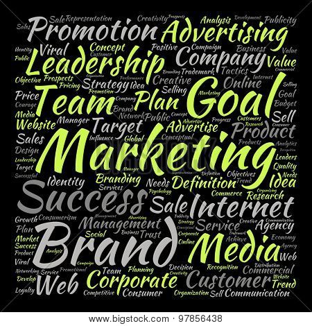 Concept or conceptual leadership marketing or business text word cloud isolated on background