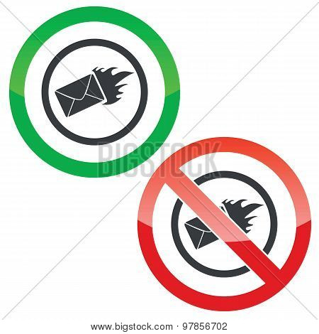 Burning letter permission signs