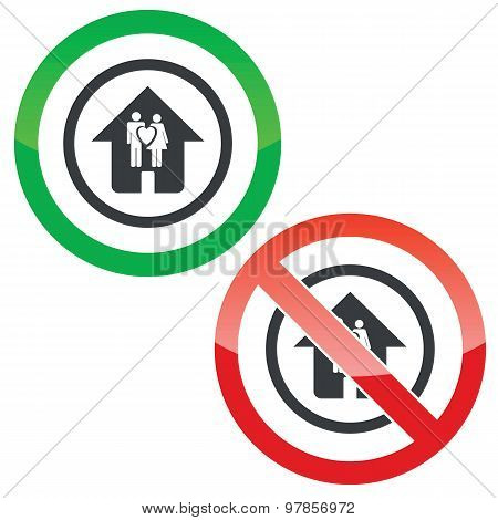 Young family house permission signs