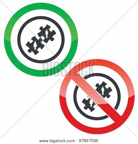 People puzzle permission signs