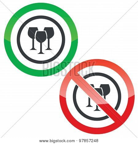 Wine glass permission signs