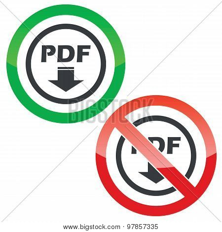PDF download permission signs