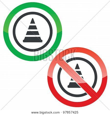 Traffic cone permission signs