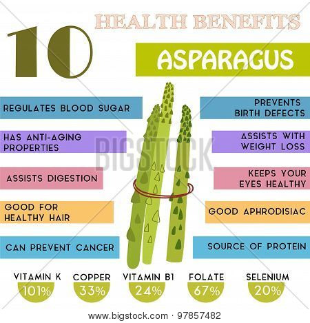 10 Health Benefits Information Of Asparagus. Nutrients Infographic,  Vector Illustration. - Stock Ve