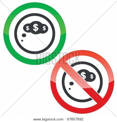 Dollar thought permission signs
