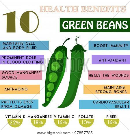 10 Health Benefits Information Of Green Beans. Nutrients Infographic,  Vector Illustration. - Stock