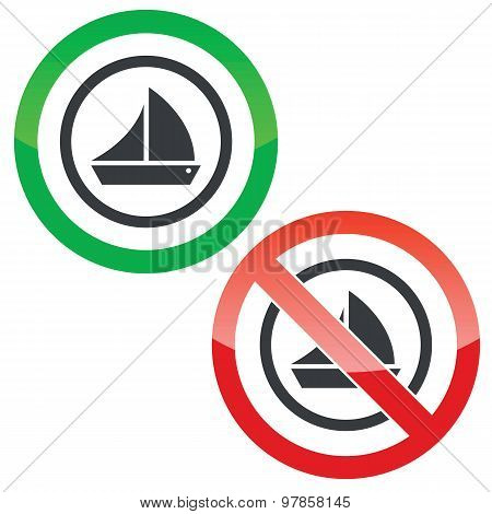 Sailing permission signs