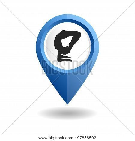 Blue map pointer with a man in an yoga pose.