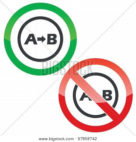 A to B permission signs