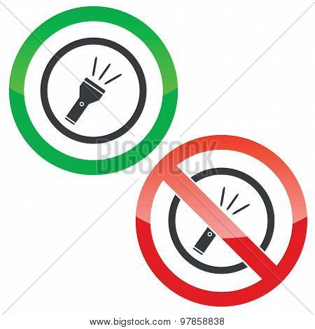 Flashlight permission signs