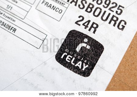 Mondial Relay Sticker On Cardbox